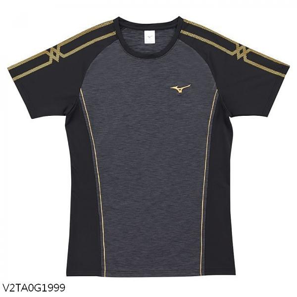 MIZUNO 男裝 短袖 排球 手球 合身版型 吸汗快乾 黑【運動世界】V2TA0G1999