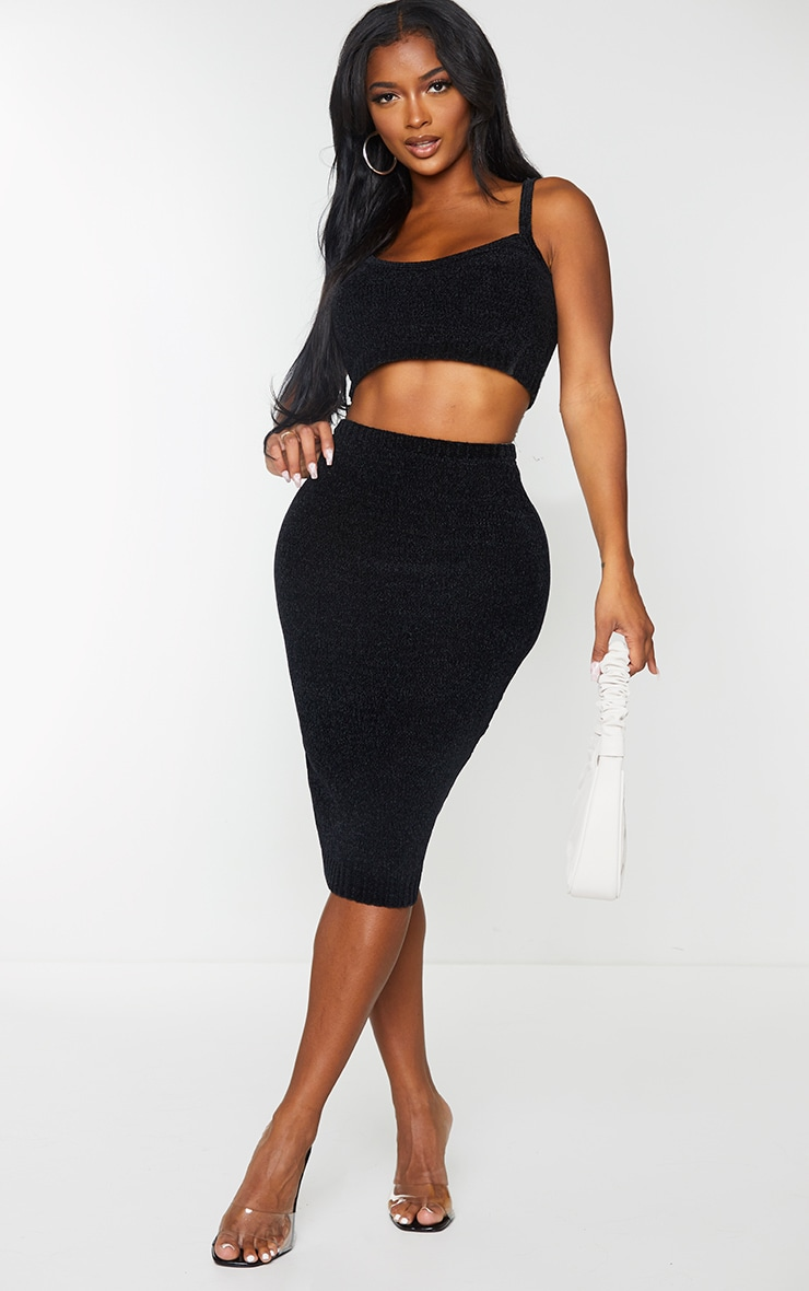 Shape Black Knit Midi Skirt