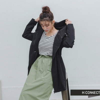 H:CONNECT 韓國品牌 女裝 -修身縮腰風衣外套-黑