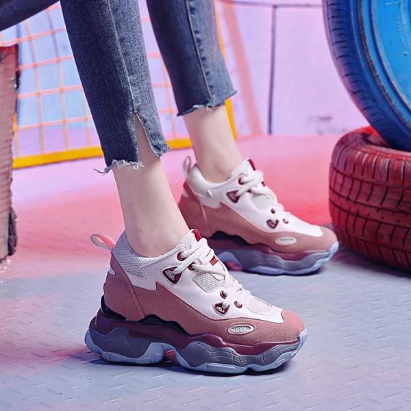 楔型鞋 內增高女2020正韓超火百搭鬆糕鞋夏季厚底休閒運動臟臟老爹小白鞋