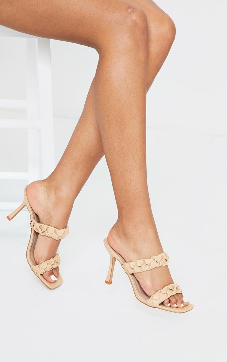 Sand Square Toe Twin Strap PU Plaited Mule Heels