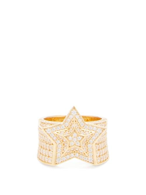 Bottega Veneta - Star 18kt Gold-plated Sterling-silver Ring - Womens - Gold