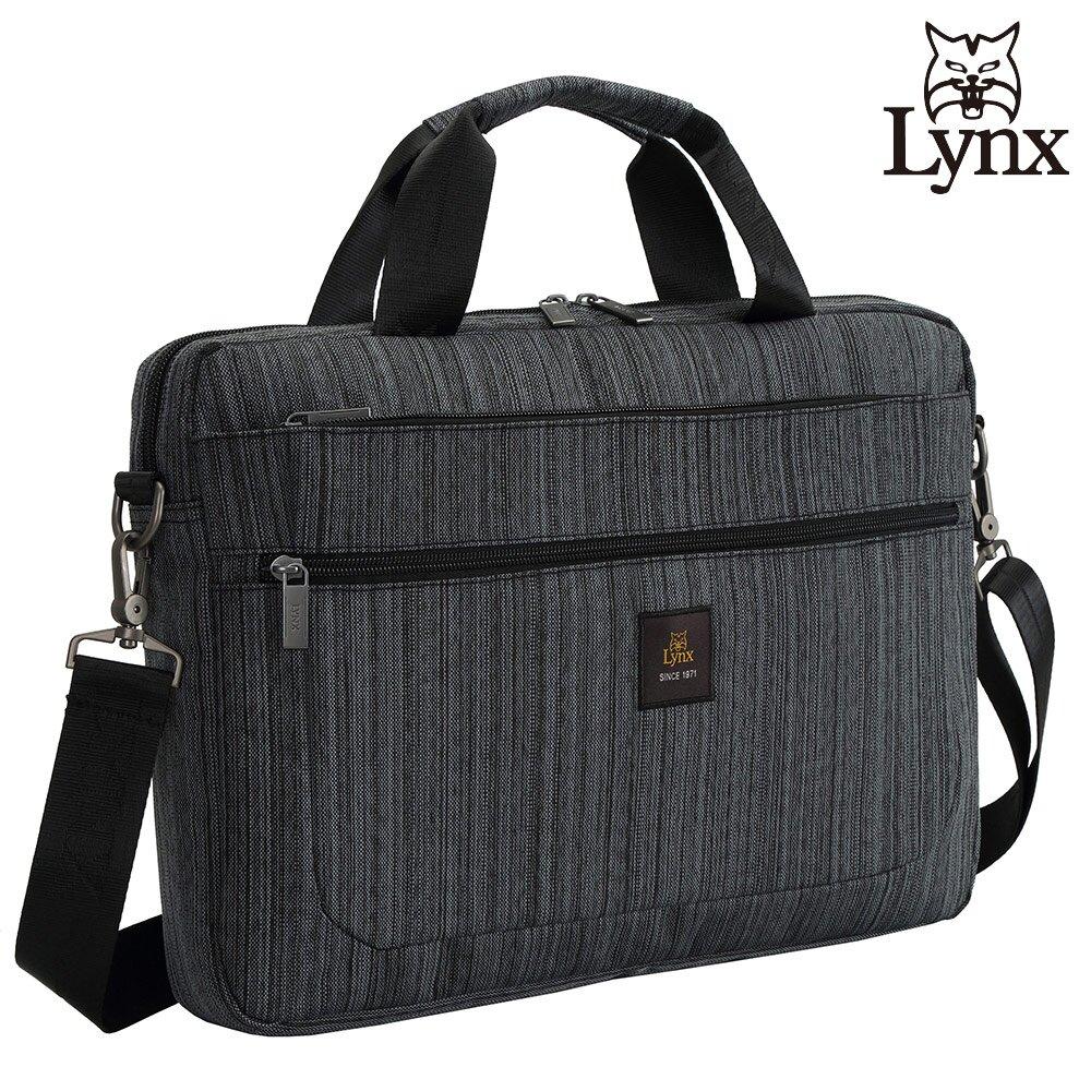 【Lynx】美國山貓旅行休閒多隔層機能側背公事包布包(深灰色) LY39-2N74-91