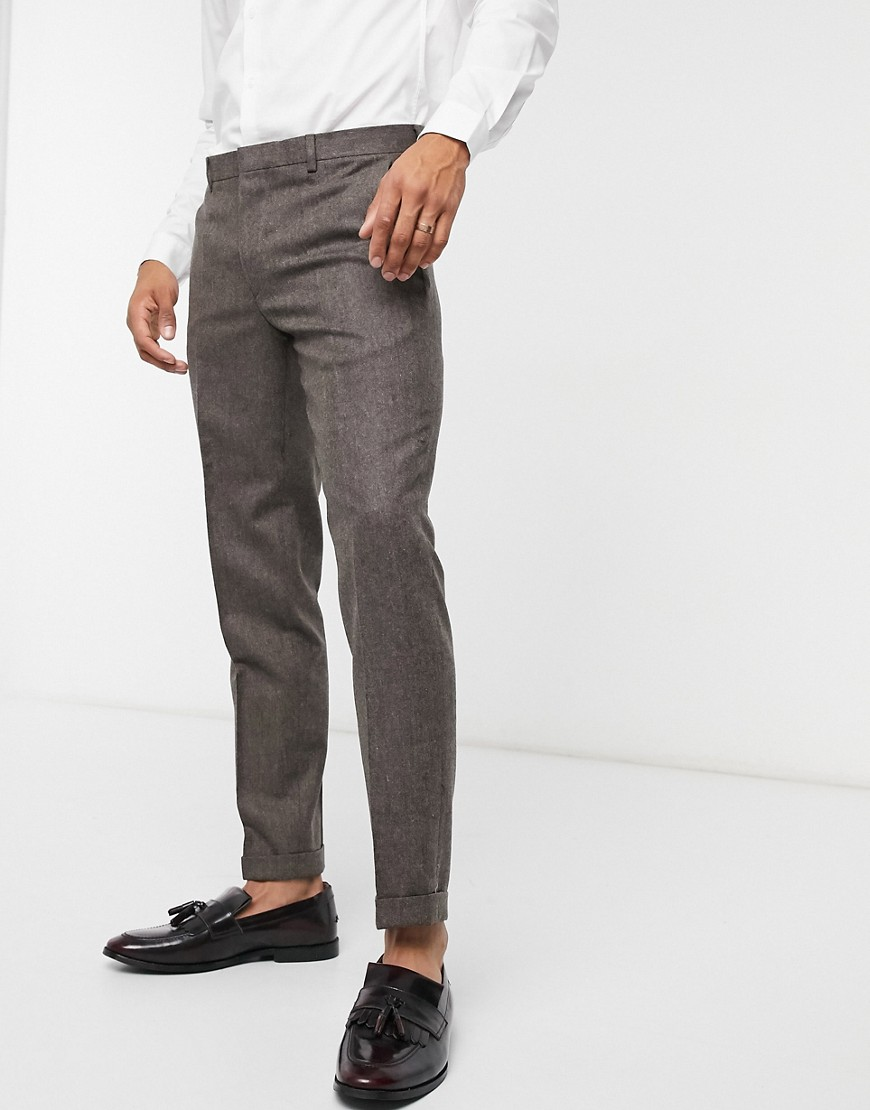 Shelby & Sons slim trouser with turn up in brown tweed