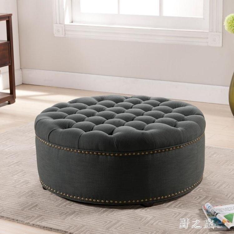 歐式服裝店沙發換鞋凳美式真皮圓形沙發凳試換鞋凳大型整個95cm KV1621【99購物節】