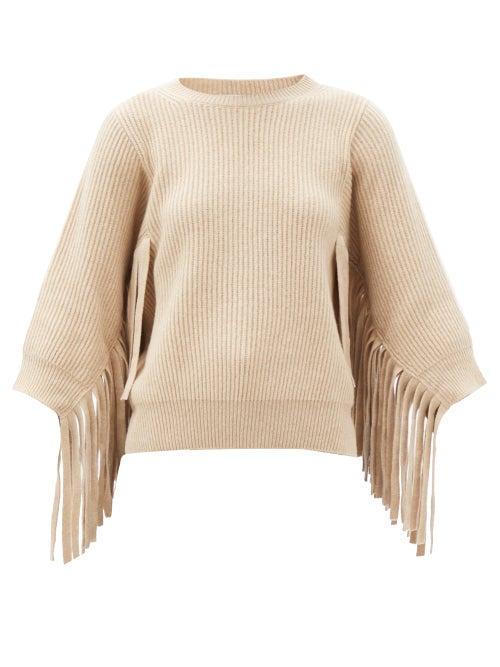 Stella Mccartney - Fringed Rib-knitted Cashmere-blend Sweater - Womens - Cream