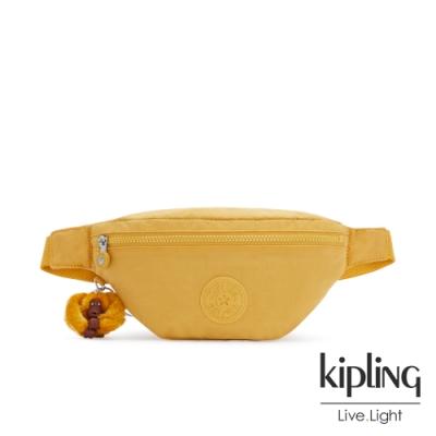 Kipling 鮮豔太陽黃簡約拉鍊腰包-PRIA