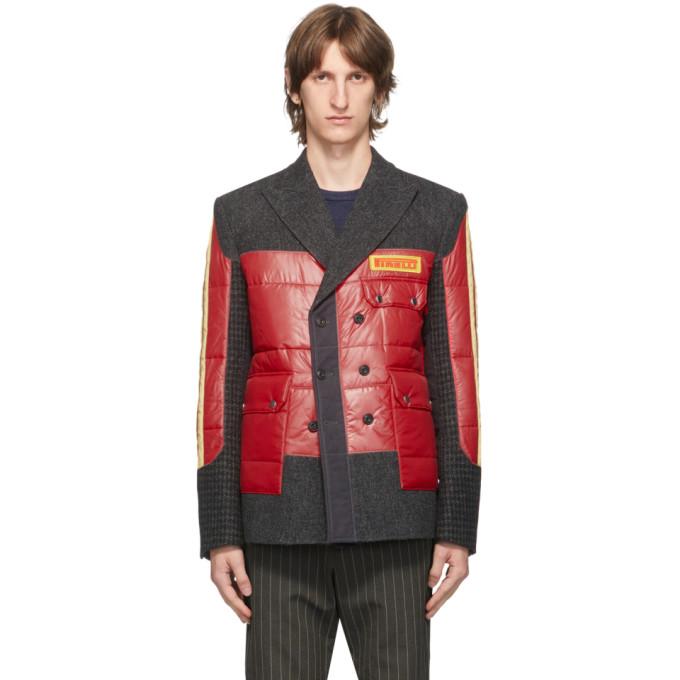Junya Watanabe 红色 Pirelli 拼接西装外套