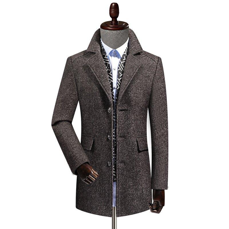 毛呢外套中長款大衣-羊毛圍巾領單排扣保暖男外套2色73yu8【獨家進口】【米蘭精品】