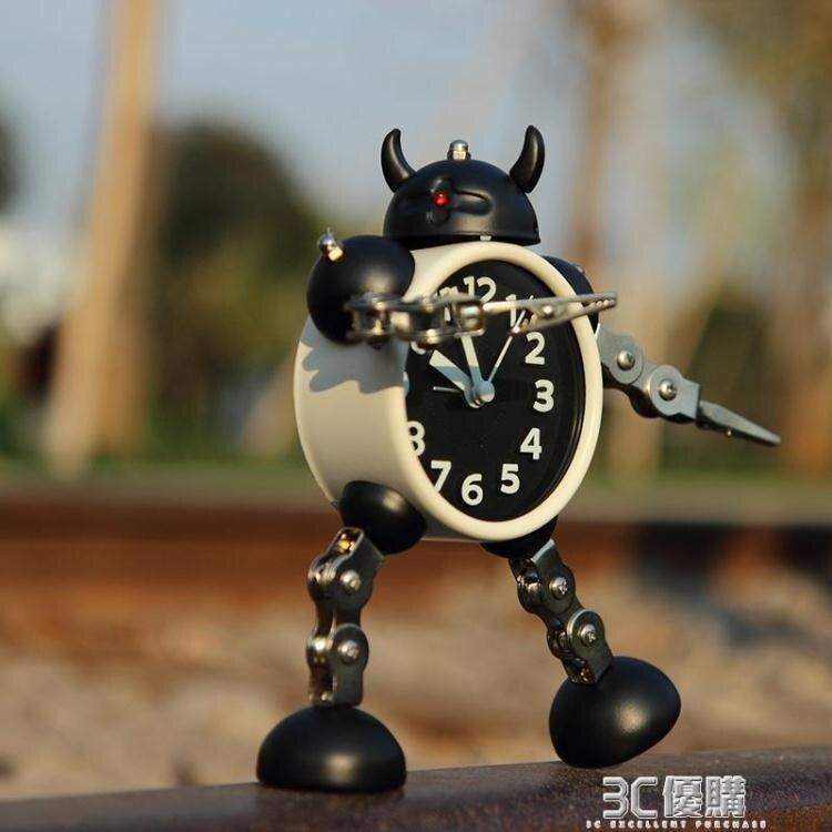 靜音小鬧鐘學生用兒童大音量定時卡通專用家用可愛創意機器人時鐘