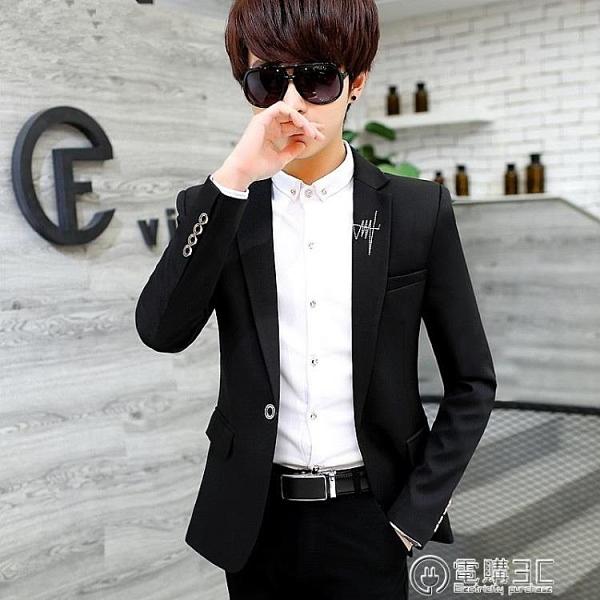 青年韓版加厚西服男士春秋冬季西裝上衣服潮流修身小西裝休閒外套