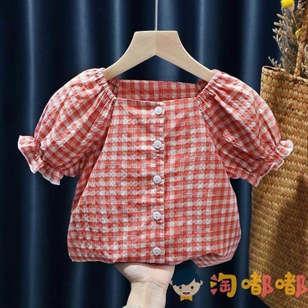 兒童襯衣女童襯衫寶寶格子短袖上衣小童公主娃娃衫韓版【淘嘟嘟】