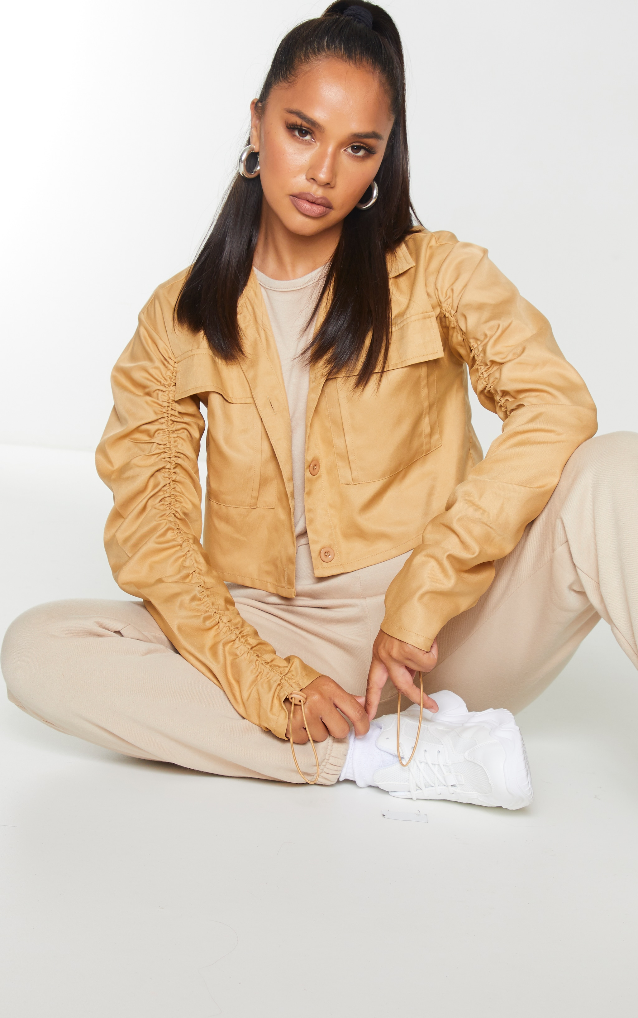 Camel Woven Down Ruched Sleeve Jacket