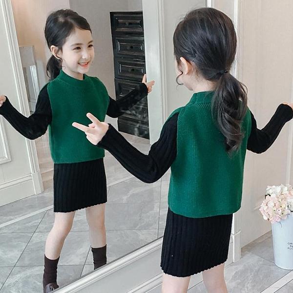 降價兩天 2020女童春季裝新款兒童針織衫童裝 毛衣純色假兩件撞色套裝中大童