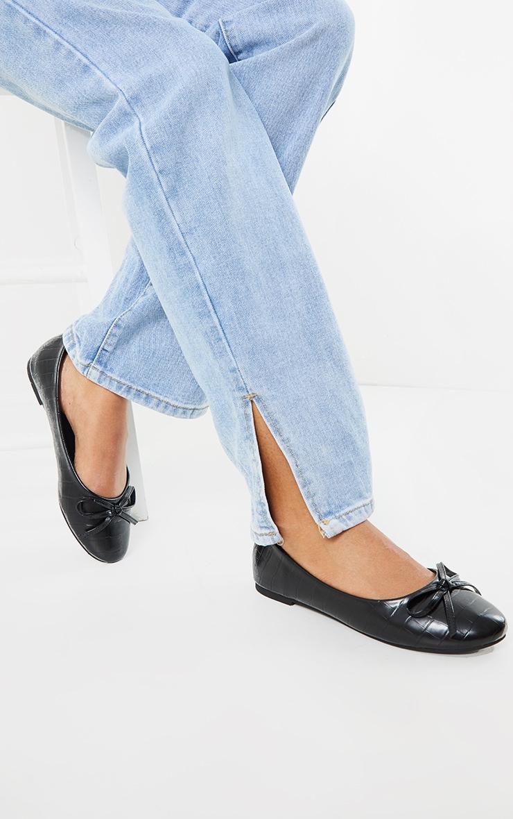 Black Wide Fit Croc PU Round Toe Ballet Shoes