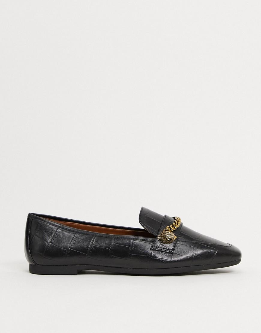 Kurt Geiger London Camilla flat shoe with chain detail in black