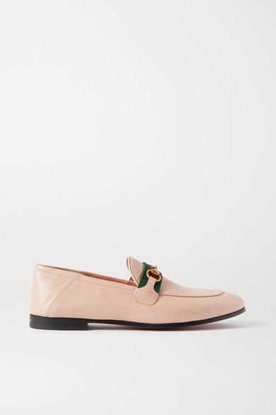 Gucci - Brixton 马衔扣细节织带边饰皮革折叠式后跟乐福鞋 - 奶油色 - IT42