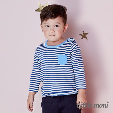 Little moni 條紋拼色口袋上衣(皇家藍)