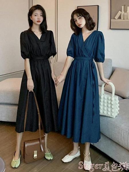 長袖洋裝夏季新款復古長袖裙子高腰赫本風v領裙女收腰顯瘦法式連身裙 suger