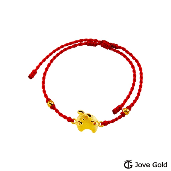 Jove Gold 漾金飾 吉來運展黃金繩手鍊-豬