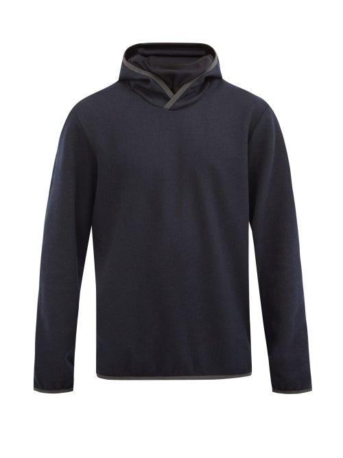 Sease - Drone Wool-blend Jersey Hooded Sweatshirt - Mens - Navy