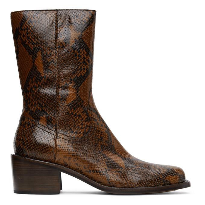 Dries Van Noten 棕色蛇纹中跟中筒靴
