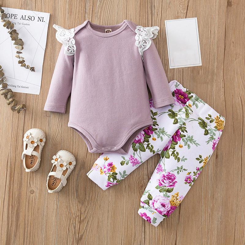 女嬰春秋新款包屁衣套裝 嬰幼兒女寶寶長袖連體哈衣+印花長褲兩件套【IU貝嬰屋】