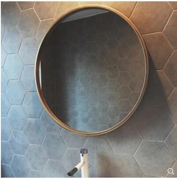北歐圓形浴室鏡衛生間鏡子洗手臺壁掛鏡子洗手間廁所鐵藝裝飾鏡子【(直徑50cm)】