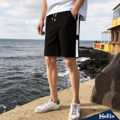 HeHa-仿麻舒適配色短褲 三色