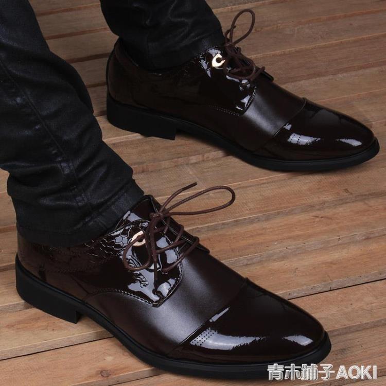 男士夏季韓版潮流尖頭透氣皮鞋男內增高6cm商務正裝休閒男鞋