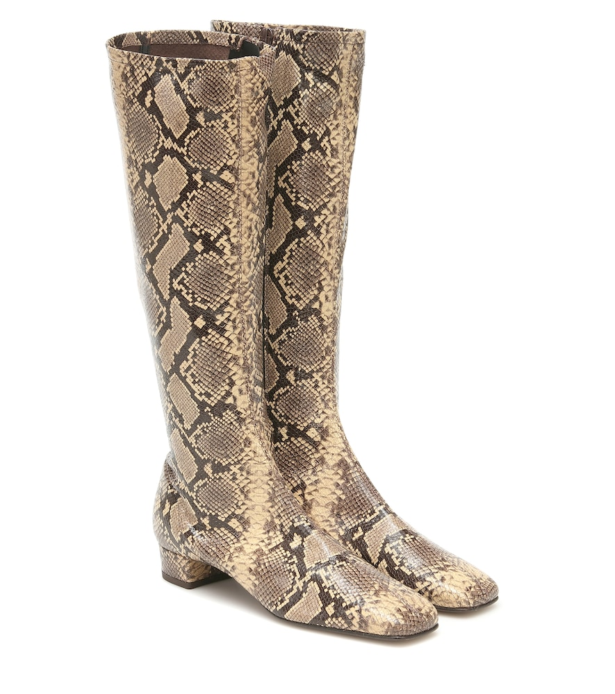 Edie snake-effect leather knee-high boots