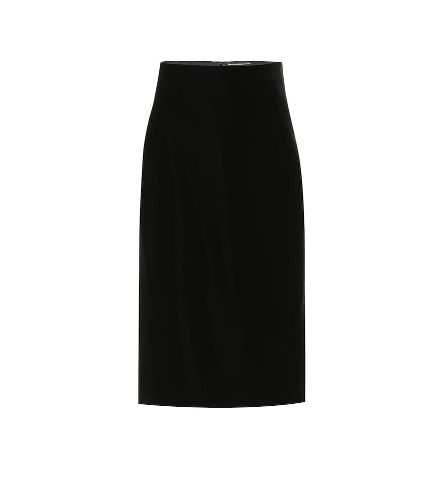 High-rise velvet midi skirt