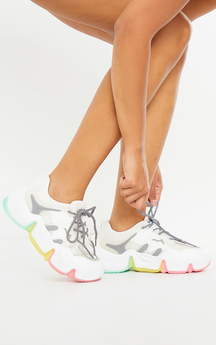 White Chunky Multi Wave Sole Trainer