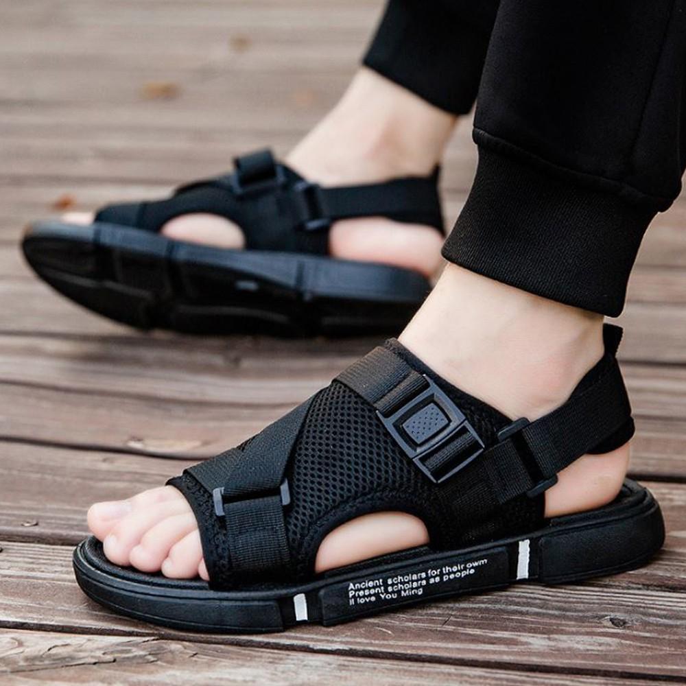 X-INGCHI 男款黑色黑底透氣網面沙灘涼鞋-NO.X0238