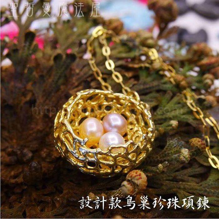【現貨一條】14K金鳥巢三色珍珠墜鍊/項鍊