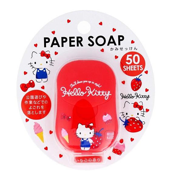 Hello Kitty紙肥皂 旅行便攜式草莓香皂片/一次性肥皂紙/洗手/防疫必備 [喜愛屋]