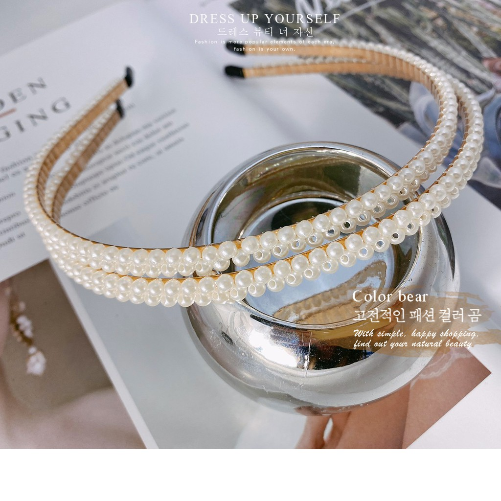 【卡樂熊】韓版純粹珍珠寬版造型髮箍-一入