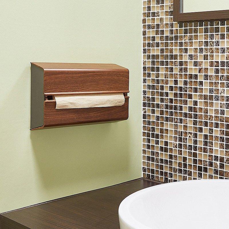 日本IDEACO 胡桃木紋ABS壁掛/桌上兩用擦手紙架