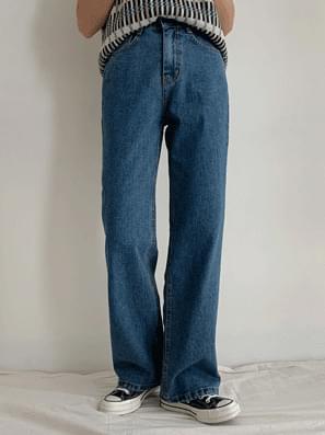韓國空運 - Blue Denim Wide Pants 牛仔褲