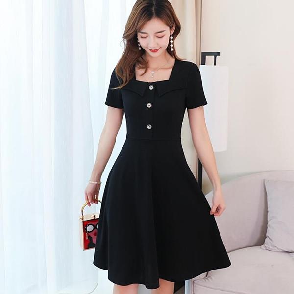 短袖洋裝 彩黛妃2020春夏新款韓版女士時尚大碼百搭素色潮流顯瘦休閒連身裙