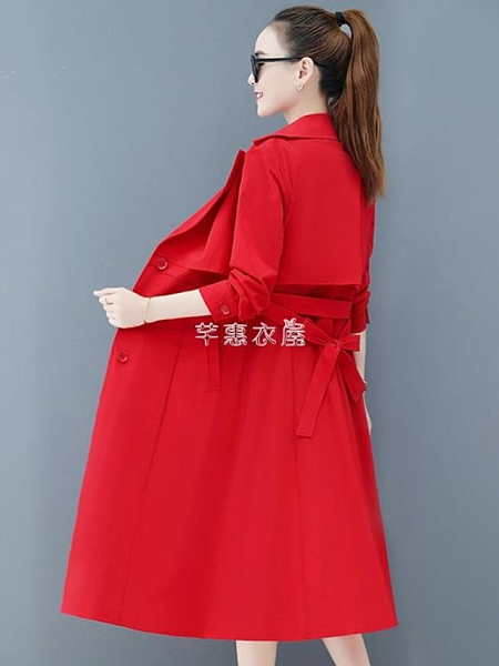 風衣外套女中長款2021年季新款流行時尚氣質收腰過膝薄款大衣潮 快速出貨