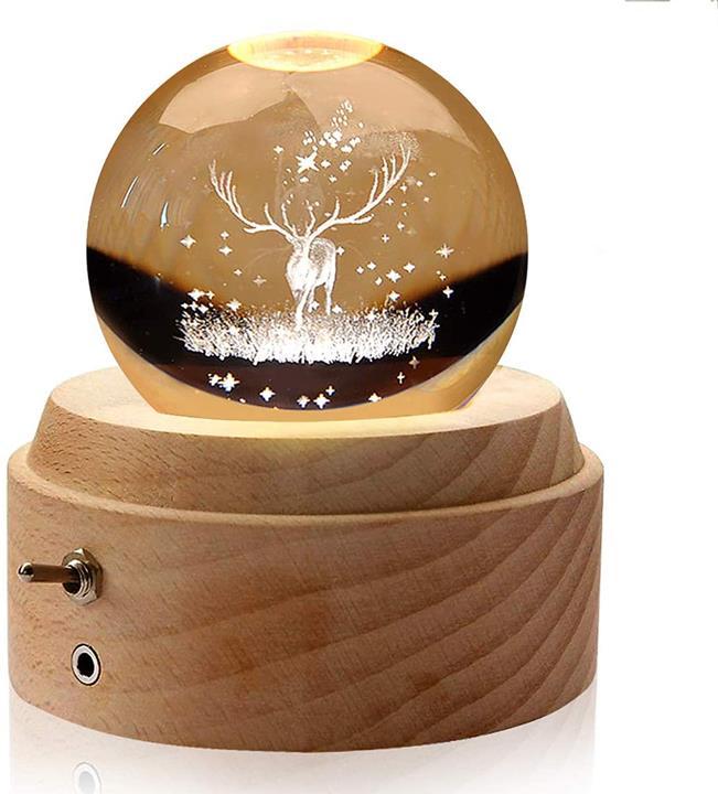 【日本代購】TTMOW音樂盒水晶球生日禮物3D透明水晶球LED燈投影功能
