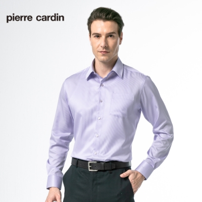 Pierre Cardin皮爾卡登 男裝   清涼節能性修身版條紋長袖襯衫_粉紫條(62852-21)