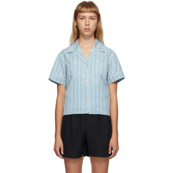 Gucci 蓝色 GG 条纹短袖衬衫
