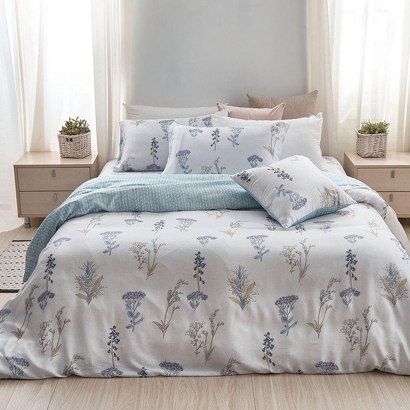 床包兩用被套組-雙人/40支/ 萊塞爾天絲四件式 / 水色寄語 台灣製