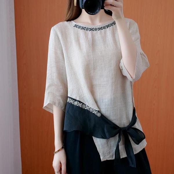 夏季寬鬆輕薄苧麻刺繡襯衫女文藝復古不規則棉麻系帶中袖麻料上衣 新年钜惠
