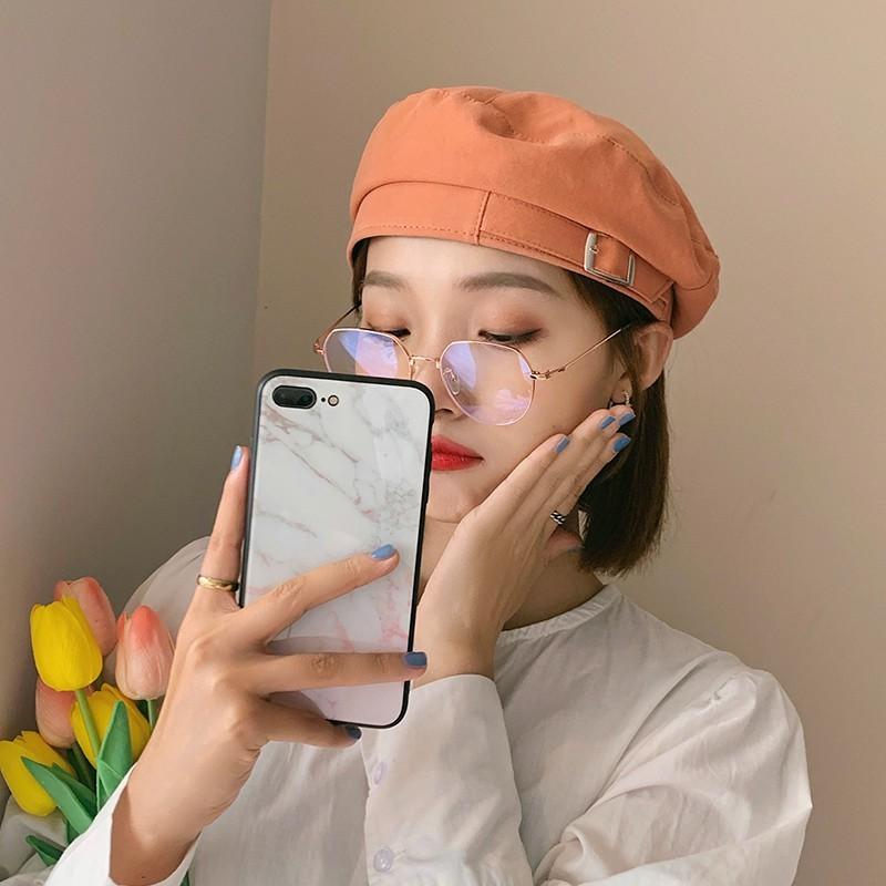 橘色貝雷帽女春秋薄款韓版潮ins日系甜美可愛帽子百搭時尚畫家帽 -