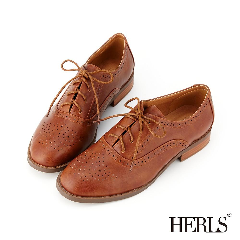 HERLS牛津鞋 英倫學院雕花沖孔圓頭牛津鞋 棕色