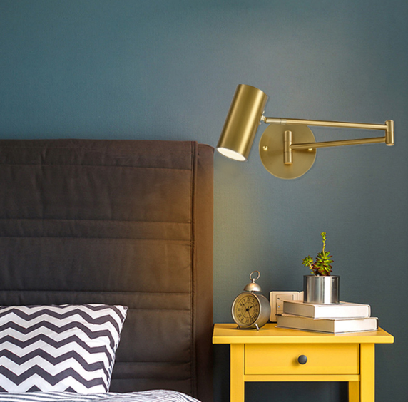 單色光 壁燈 閱讀燈 床頭燈 床頭壁燈臥室輕奢客廳背景裝飾折疊伸縮搖臂自帶開關免接線閱讀燈