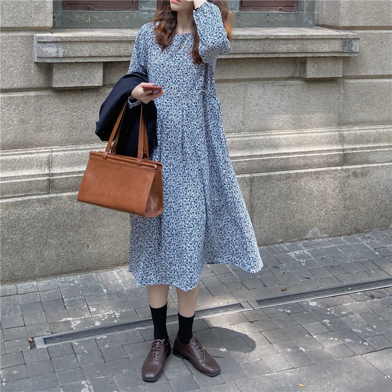 新款 浪漫法式優雅 復古碎花收腰系帶連衣裙
